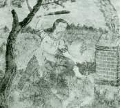 """Kalkmålning på norra kormuren. """"Kain slår ihjäl Abel"""" ( I Mosebok 4:8-10)"""