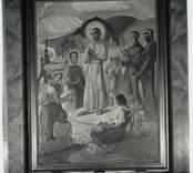 Altartavla utförd av Simon Gate som fanns i den tidigare kyrkan innan den brann ned.