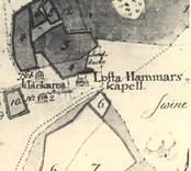 Utsnitt av karta som visar Loftahammars kapell och klockarboställe.