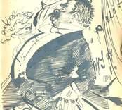Teckning med oläsbar text, Nybro 1897 ur Lilli Sahlbergs minnesalbum.