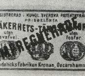 """Tändsticksetikett från Tändsticksfabriken kronan i Oskarshamn, """"Impregnerade säkerhetständstickor""""  Urval av tändsticksetiketter ur Sven Johanssons """"Jönköpings samlingar."""