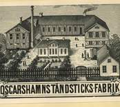 Teckning av Oskarshamns Tändsticksfabrik.  Mellan åren 1870 och 1895 bedrevs tändstickstillverkning i Oskarshamn.  Fram till 1881 vid Oscarshamns tändsticksfabrik AB, därefter vid Stenslunds tändsticksfabrik och från 1887 vid Tändsticksfabriken Kronan. Fabrikerna var belägna på samma ställe och kan lokaliseras till en plats mellan Allévägen och Örnvägen i  nuvarande Oskarshamn.  (Uppgifterna hämtade från http://thoresmatches.se/tandsticksfabriker/oskarshamns_tandsticksfabrik.htm)
