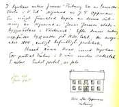 """Ringeltaubska skolan, skiss efter en ritning av J.F.Opperman c:a 1838. Orginal i Västra Eds kyrkoarkiv.  I kyrkans arkiv finnes """"Ritning till en Lancasterskola i v ed"""" signerad av J.F Oppman. En något förenklad kopia av denna ritning är signerad av """"Jonas Jonsson, stadsbyggmästare i Västervik."""" Efter dennes ritning uppfördes byggnaden på 1830 talet . Den avsynades 1944 enligt befintligt protokoll. Huset ännu kvar invid kyrkan. Ett putsat trähus i 2 vån under sadeltak."""