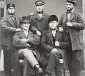 Ljungstedt, Hagström, Petersson (från vänster stående) samt Wykman och Hammarberg (från vänster sittande).