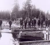 Flottare uppställda för fotografering vid dammen i Barkeström.
