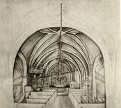 Teckning av C.G. Brunius föreställande långhuset med kryssvalv i Västra Ed:s gamla kyrka.
