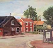Jutarnas väg i Nybro efter en oljemålning av Fritz Axelsson.