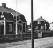 Vy från Grönvägen. Dessa bilder är tryckta i almanackor utgivna av Nybro Hembygdsförening. De är inte till salu genom KLM, men vi väljer att visa dem då vi har få bilder från det Nybro var en gång.