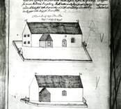 Teckning av Döderhults kyrka. Döderhults kyrka.  Ur Frigelius Analecta, sid 108. Orginalbild hos Kalmar stifts skol och  gymnasie bibliotek.