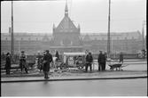 Arbete vid spårvägen utanför Köpenhamn station.