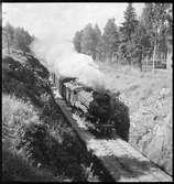 Vedeldat ånglok med godståg på linjen.