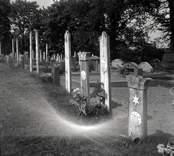 Kyrkogården vid Gladhammars kyrka. Gravvårdar med emaljplåtar från Ankarsrum.