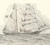 """Skonert, 195 ton. Byggd 1877 i Oskarshamn för Gustaf Wijkström. Förlist 1892 vid Madeira. Teckn. av J.H. Götherström. Se """"Vår gamla segelflotta"""", V. Oskarsh.Tidn. 4.5.1934."""