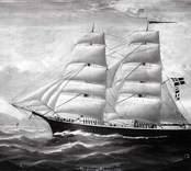 """Brigg byggd i .. Enligt skeppslistan 1895 redare N.L.Callerström, Påskallavik. Saknas härunder 1910. """"Köpt i Tyskland. Fördes av Kapten Wedin från Kalmar. Förlist på västkusten"""". Oljemålning på duk, signerat W.H.YORKE."""