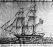 """Hoppet av Västervik. Brigg hemmahörande i Västervik 1832 och då förd av kapten Jac. Stenberg. Text """"Briggen HOPPET från Västervik, förd av capt. Jac. Stenberg 1832""""."""