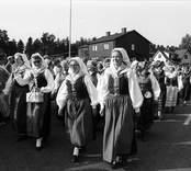 Karnevalståg i Påryd. Visning av häradsdräkter.