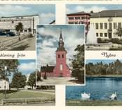 Vykort med Nybro kyrka.