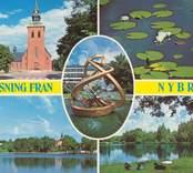 Kyrkan, Linneasjön, Svartegöl, Fontänen Vykort med motiv från Nybro: