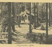 Vykort med motiv av Skogshyddan i Joelskogen.
