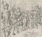 Calmars Erobring 1611  Teckning av P.C. Lund efter tapet på Fredriksberg. Daterad 6 juli 1858.