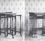 Satsbord tillverkat av Mörtfors Stol- och Möbelfabrik. Levererades till olika möbelfirmor i bl a Stockholm.