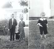 Familjen Bror och Helga Johansson, Broatorp med sonen Ivan och hunden Rapp. Högra plåthalvan Ivan på gräsplanen utanför köksdörren.