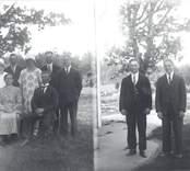 Vänstra bilden: Sittande: Karoline Pettersson, f. 1877, d. 1944, Karl Petter Pettersson, f. 1871, d. 1969. Stående: Magda Pettersson, f. 1912, g. Hallingmark, Arvid Pettersson, f. 1901, d. 1969, Beda Pettersson, f. 1909, g. Holmqvist, Erik Pettersson, f. 1904, Lennart Pettersson, f. 1910, d. 1981. Högra bilden: Bröderna Erik och Lennart Pettersson.