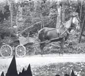 Postkörare Karl Hjalmar Karlsson, född 11 dec. 1890, död 23 sept. 1980.  Karlsson svarade för postkörning mellan Jämserum och Mörtfors med två turer per vecka.  Han startade från Nygård kl. 04 för att hinna till Mörtfors och vara tillbaka i Jämserum kl. 08. Där avlöstes han av en postförare Gren som fortsatte till Oskarshamn för postavlämning och hämtning åter till Jämserum. I Jämserum övertog Karlsson posten som under eftermiddagen fördes vidare till Mörtfors.