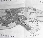 Oskarshamns stad  Liunggrens karta, tryck 1856.