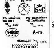 Stämpelmärken, Ankarsrum och Isgölström 1800-talet.