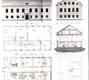 """P. Österlöfs ritning till nytt tingshus i Gamleby 1827. Original i Odensviholms gårdsarkiv. """"Ritning till Tingshus Byggnad..."""""""