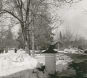 Blackstads kyrka. Foto taget från vapentrappan mot väster efter avverkningen i mars 1969.