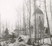 Blackstads kyrka. Foto från nordväst (från gamla vägen). Efter avverkning i mars 1969.