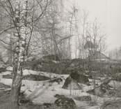 Blackstads kyrka. Foto från öster (från Hallingebergsvägen), taget efter avverkningen i mars 1969.