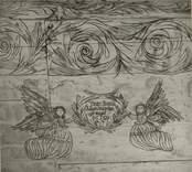 """Takmålning på sydöstra sidan vid dörren i Väderskärs kapell.  """"Låfwer honom I hans dråpeliga gärningar  Ps 150 2"""" Byggt 1590 och flyttat till platsen 1615.  """"Kapellet är ett lågt timmerhus med ett stort vapenhus med dörr i väster. Det är knuttumrat med inklädda knutar, klätt med stående panel troligen på 1700-talet. I inredningen, som är helt av trä, finns enkla rakryggade bänkar där det på flera platser finns inskurna bomärken. Altaret är ett enkelt, framtill klätt bord som även tjänar som predikstol. Väggar och tak är till största delen målade och målningarna är av två slag. En enklare typ av målning i allmogestil finns huvudsakligen i tak och gavlar. De framställer bla en Golgatascen, änglar, skepp mm och är daterade 1740. Övriga delar av kapellets innerväggar panelades förmodligen 1738 med redan förut målade brädor. Bland dessa kan bla urskiljas Kristi dop, Kristi uppståndelse mm. Numera utnyttjas kapellet till sommargudstjänster och bröllop bla. Genom länsstyrelsens beslut 1980 blev det ett byggnadsminne.""""  (hämtat från Nationalencyklopedin.)"""