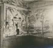 Avträdet på Fredriksbergs herrgår med väggmålningar.
