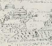 En teckning som visar gårdsanläggningen vid Fredriksberg.