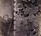 Dalhems kyrka innan 1874. Målningar i korvalvet. T.v. skymtar altaret av Edvard Orm. Renässansmålningar i valven.