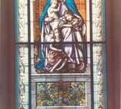 Målat glas i Lofta kyrka.