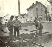Arbete vid järnvägen i Oskarshamn.