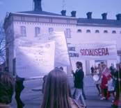 Första majdemonstration i Västervik 1971.