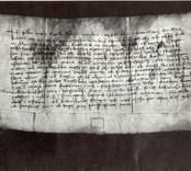 Gammalt pergament med handskrift med anknytning till Gamleby.