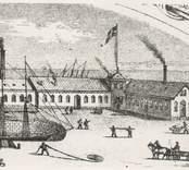 Varvet i Oskarshamn. , Detalj ur bild i mekaniska verkstadens katalog omkring 1860.