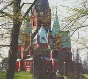 Vykort med motiv från Sankt Petri kyrka i Västervik.