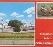 """Vykort med Oskarshamn Hamnen med """"Gottlänningen"""" Döderhultarens Fingerkrok I bakgrunden syns färjan Svea Drott, som gick mellan Oskarshamn och Visbby juni 1974- september 1974."""