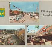 Ett vykort med motiv från Oskarshamn, bland annat Lilla torget med pågående handel och Skeppsbron.