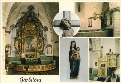 """Vykort över Gärdslösa kyrka. En träkyrka, troligen från 1000-talet, har legat på samma plats. Sista restaureringen företogs 1958. Krucifix från början av 1300-talet - smalt fönster och pelaren från1200-tal,votivskepp efter """"Nyckelen"""", som sänktes 1679 av danskarna i Kalmarsund."""