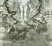 Kristdala kyrka. Den allra äldsta altartavlan, nu placerad som  plafondmålning i sakristian.