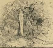 """""""Uppges vara en plundrad hällkista. Gropen är sedd uppifrån och själva hällen står på kant"""" Ur brev från. Karl sabelström 1935, vilken skänkt teckningen."""