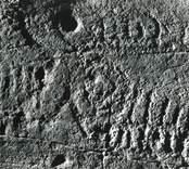 Lofta socken, ca 300 SSV Lofta kyrka, påträffades 1933 en ristning med sex skepp, en hästbild, tre spiraler eller koncentriska cirklar och ett 10-tal skålgropar.